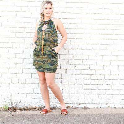 Punchy's Camo Satin Halter Dress