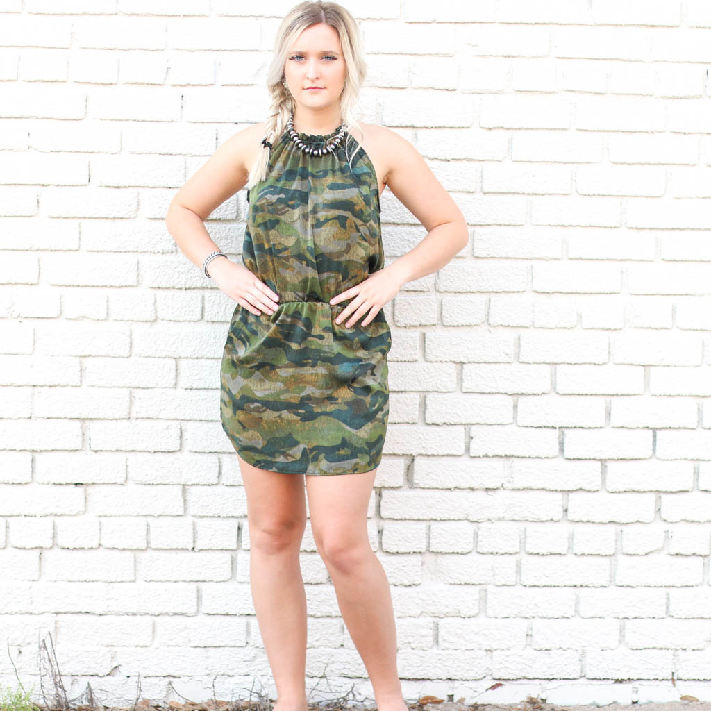 Punchy's Camo Satin Halter Dress