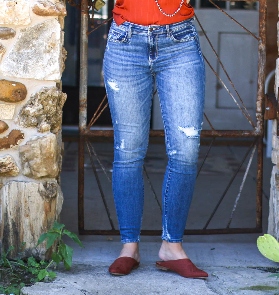 Punchy's Distressed Mid Rise Skinny Jean