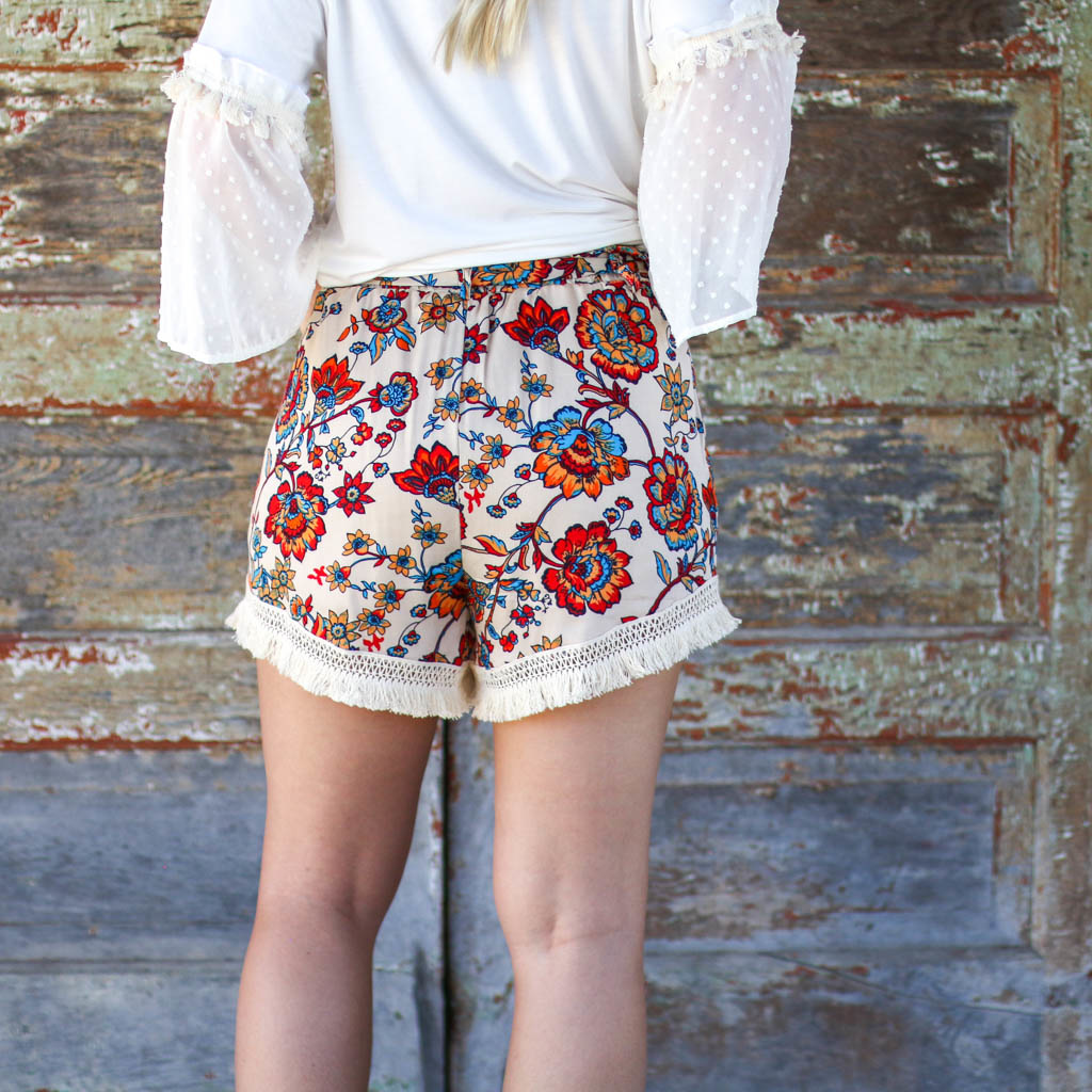 Punchy's Floral Highwaisted Tassel Shorts
