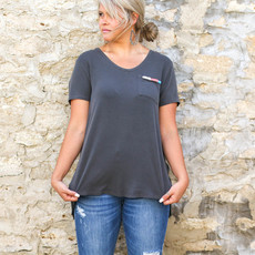 Punchy's Grey V-Neck with Embroidered Pocket