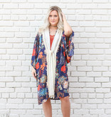 Punchy's Navy Multi Blossom Front Tie Kimono