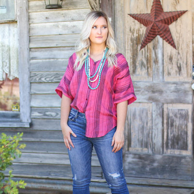 Punchy's Pink Striped Flowy Button Down SMALL
