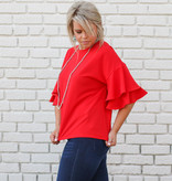 Punchy's Red Ruffle Sleeve Blouse