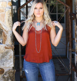 Punchy's Rust Pinstripe Lace Cami