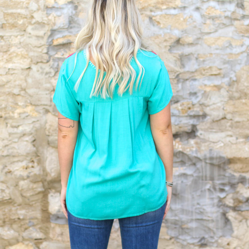 Punchy's Turquoise Fiesta Top