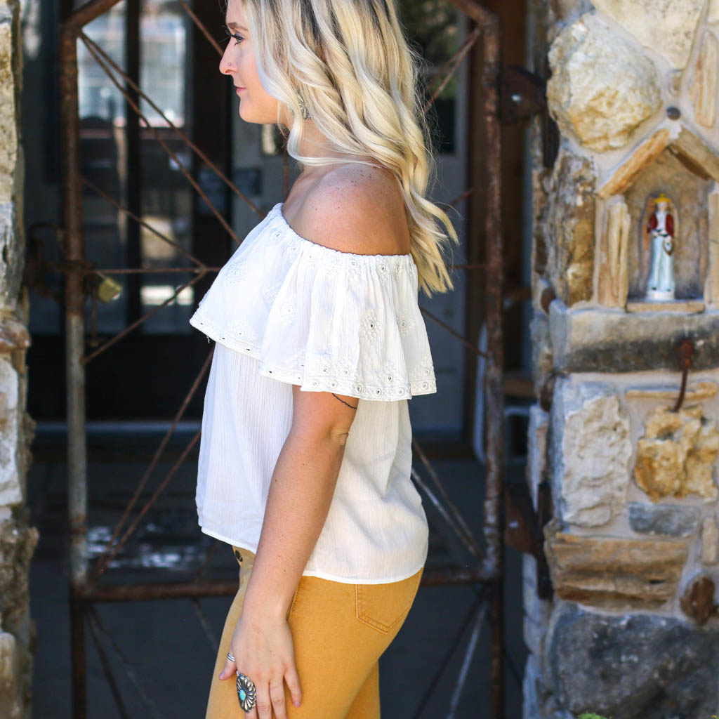 Punchy's White Embroidered Off The Shoulder Top