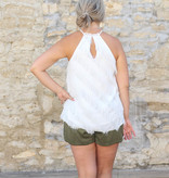 Punchy's White Feathered Cami Top