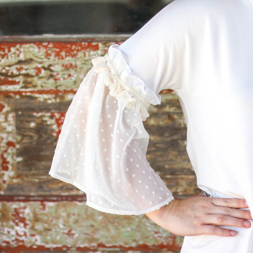 Punchy's White Polka Dot Ruffle Sleeve Top