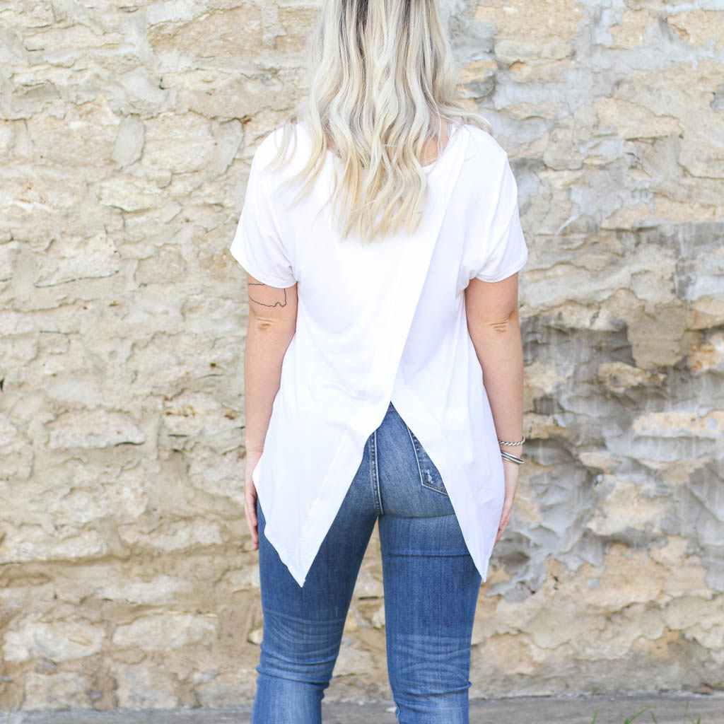 Punchy's White V-Neck with Embroidered Pocket
