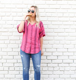 Punchy's Pink Striped Flowy Button Down