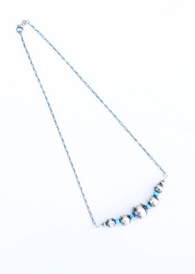 "Punchy's 20"" Turquoise & Navajo Pearl Bar Necklace"