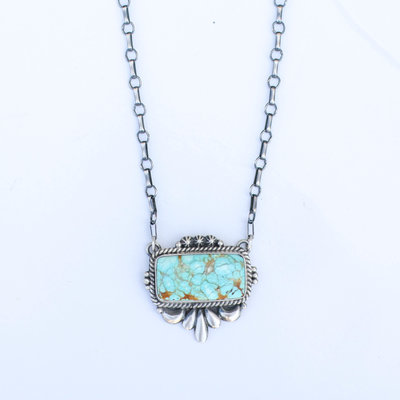 "Punchy's 18"" Carico Lake Turquoise Bar Necklace"