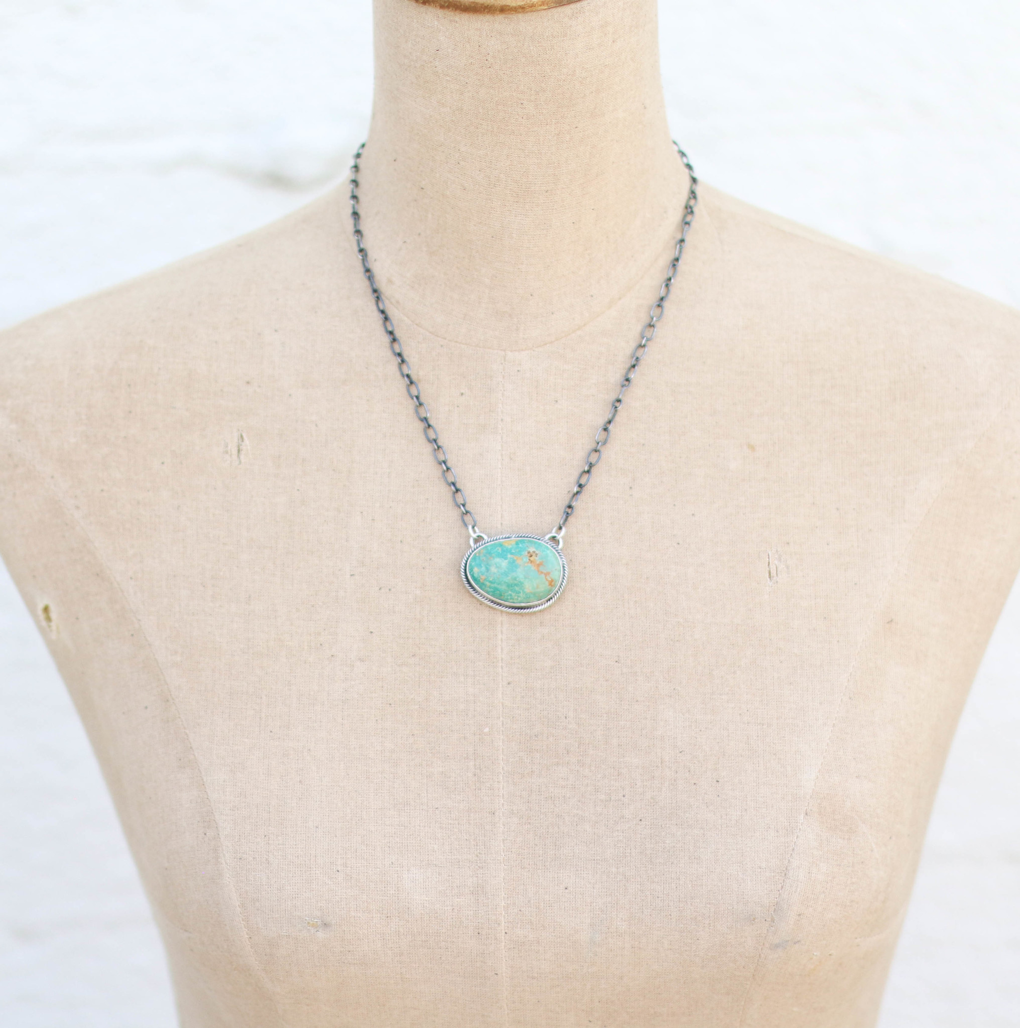 "Punchy's 19"" Royston Turquoise Bar Necklace"
