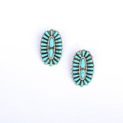 Double Teardrop Turquoise Cluster Earring
