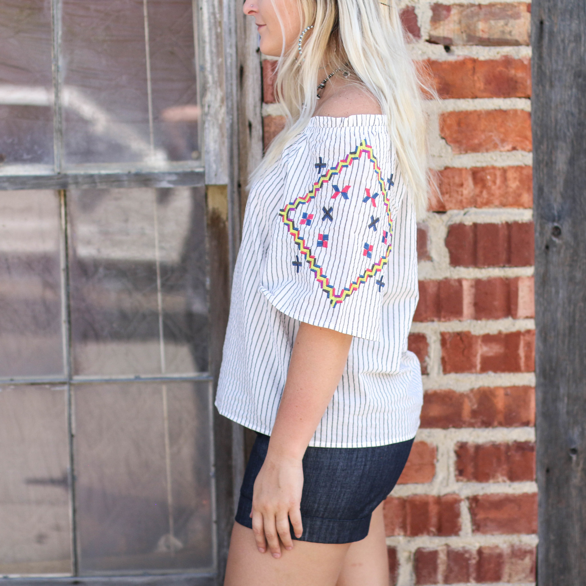 Punchy's Striped and Embroidered Off the Shoulder Top