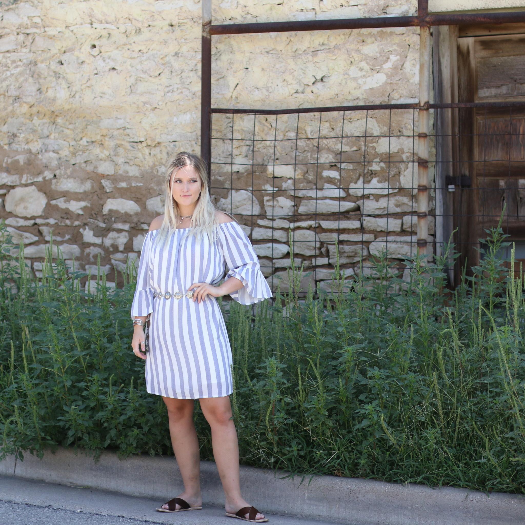 Punchy's Blue & White Striped Off Shoulder Dress