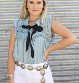 Punchy's Sleeveless Ruffle Denim Top