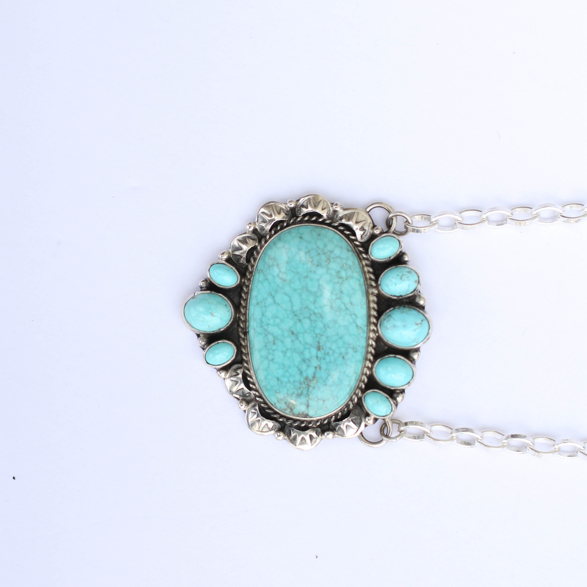 "Punchy's 20"" Blue Old Faithful Bar Necklace"