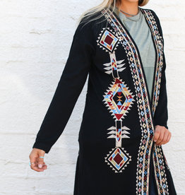 Punchy's Black Longsleeve Embroidered Cardigan