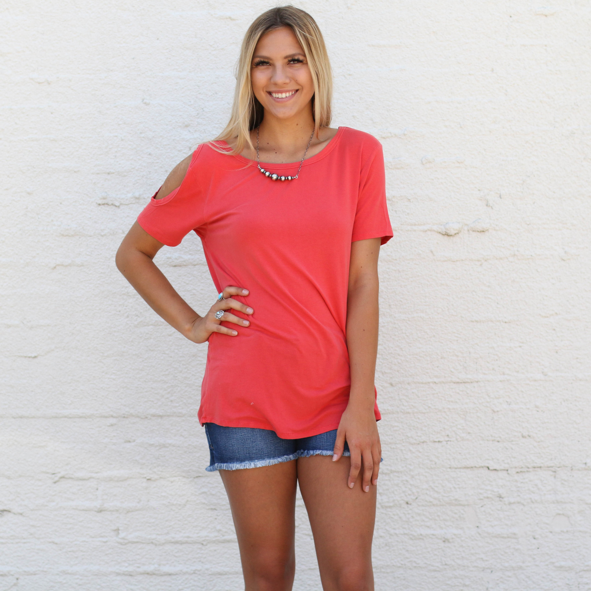 Punchy's Coral Cold Shoulder Tee