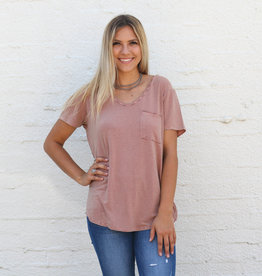 Punchy's Peach Mineral Wash Mini Stripe Tee