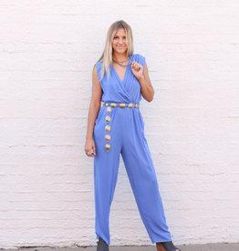 Punchy's Cobalt Blue Surplice Overlap Jumpsuit