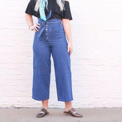Punchy's Wide Leg Cropped Denim Jean