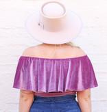 Punchy's Purple Velvet Off the Shoulder Bodysuit