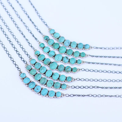 Punchy's Lucky 7 Turquoise Bar Necklace