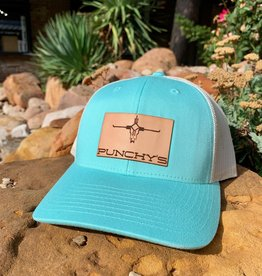Punchy's Turquoise Hat with Leather Patch Brand