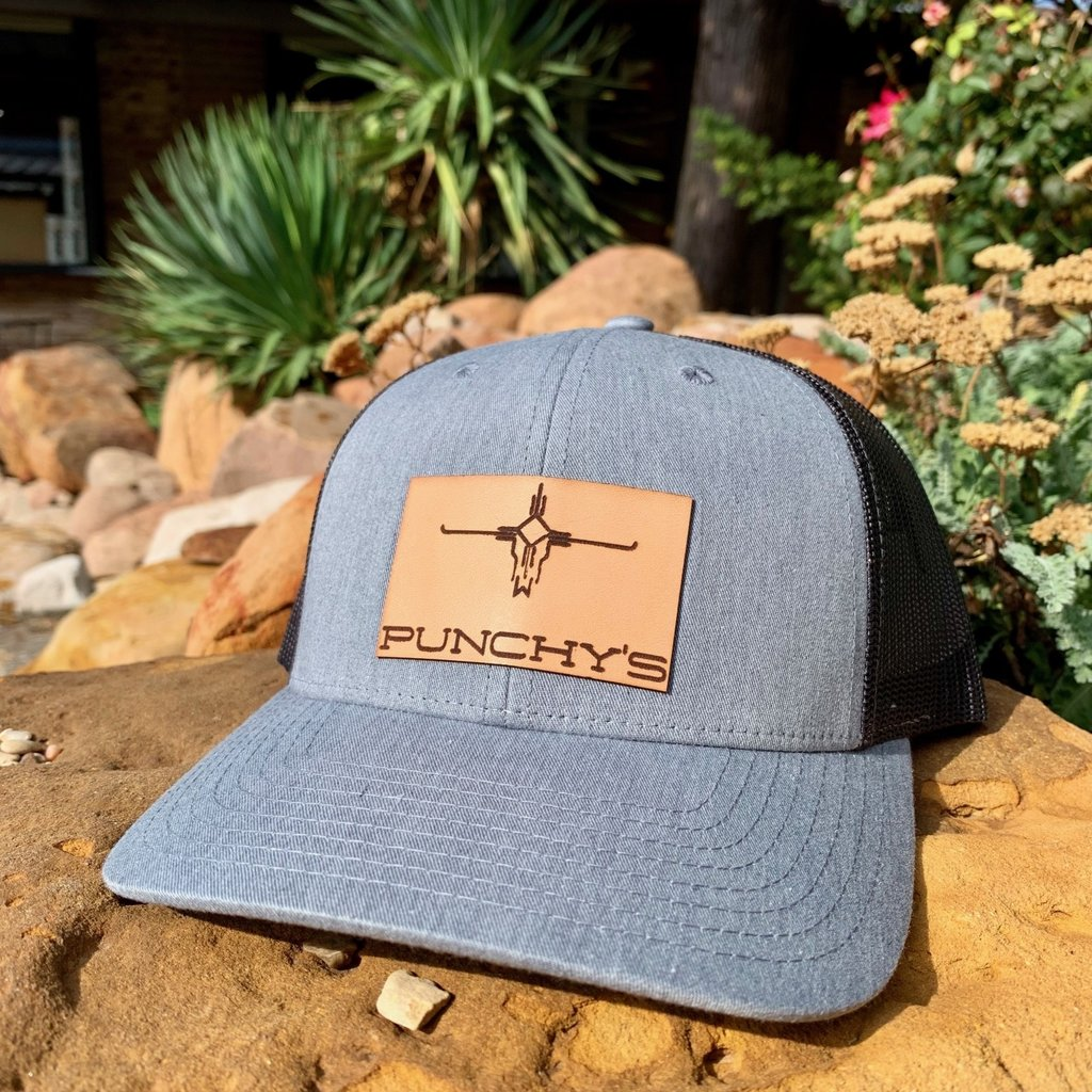 Punchy's Grey Hat with Leather Patch Brand