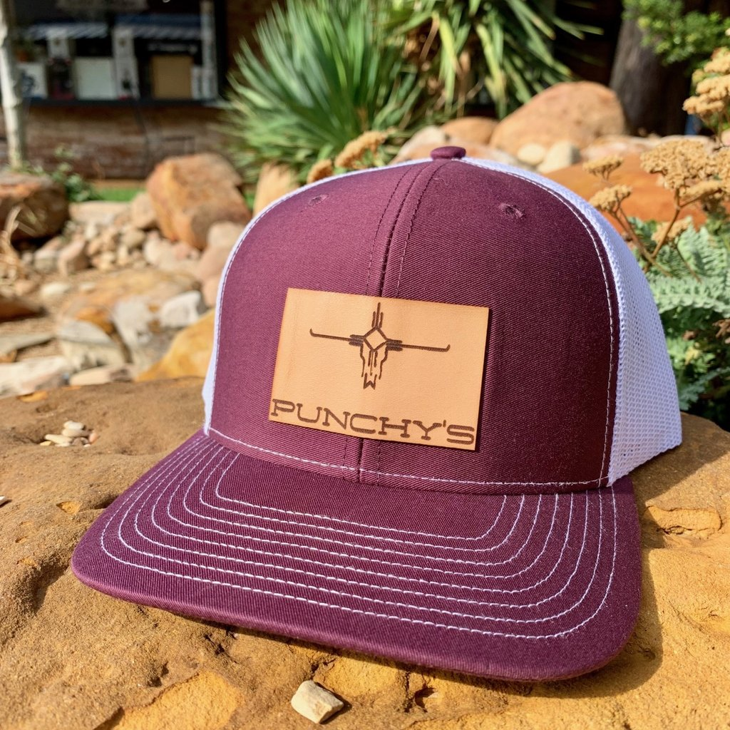 Punchy's Maroon Hat with Leather Patch Brand
