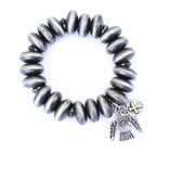 Punchy's Faux Smoke Pearl Stretch Bracelet with Thunderbird Charm