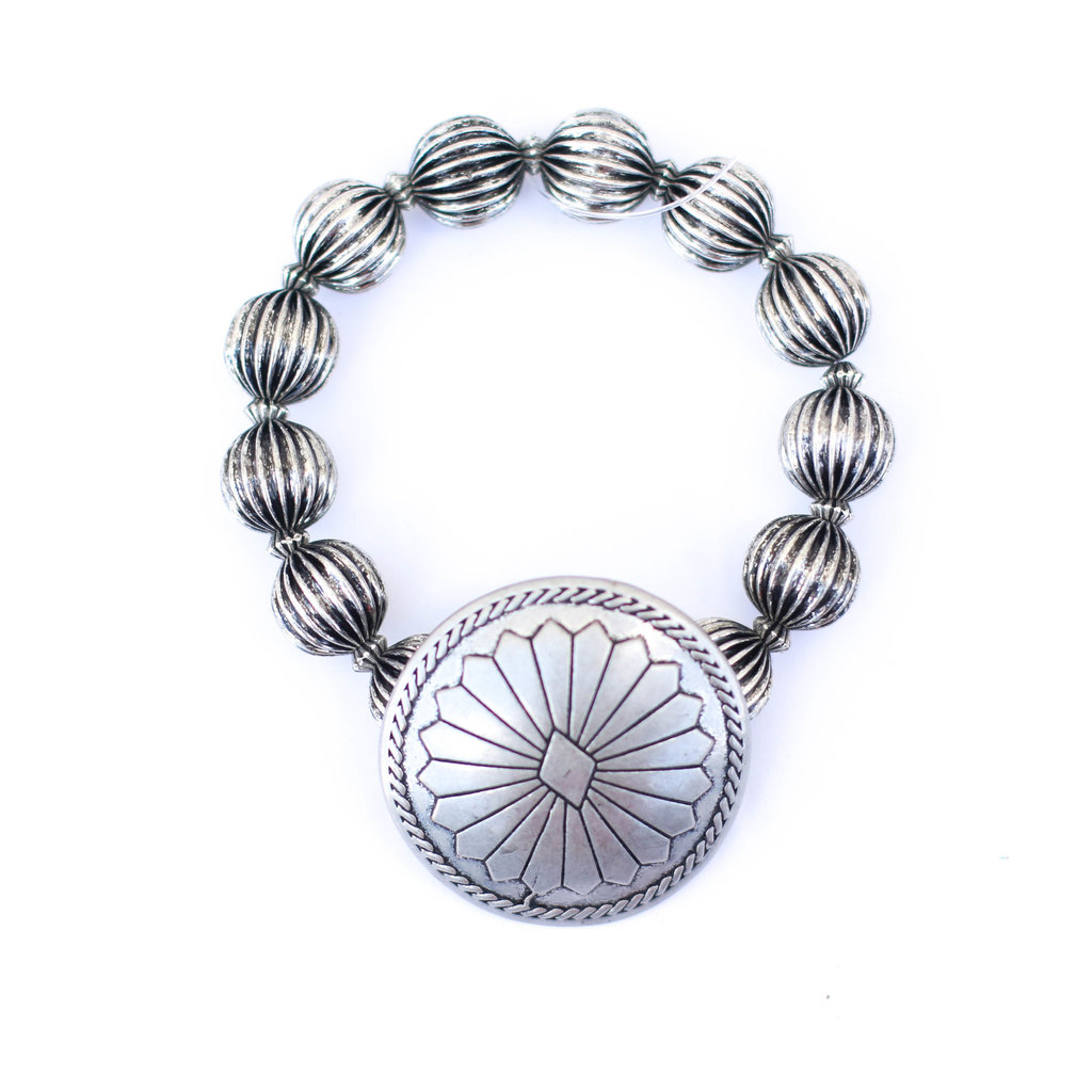 Punchy's Silver Melon Bead Stretch Bracelet with Concho