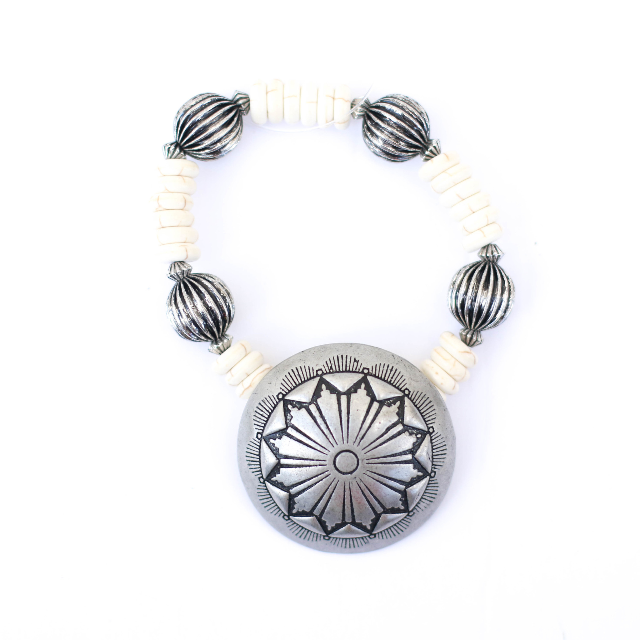Punchy's Ivory and Silver Melon Bead Stretch Bracelet with Concho