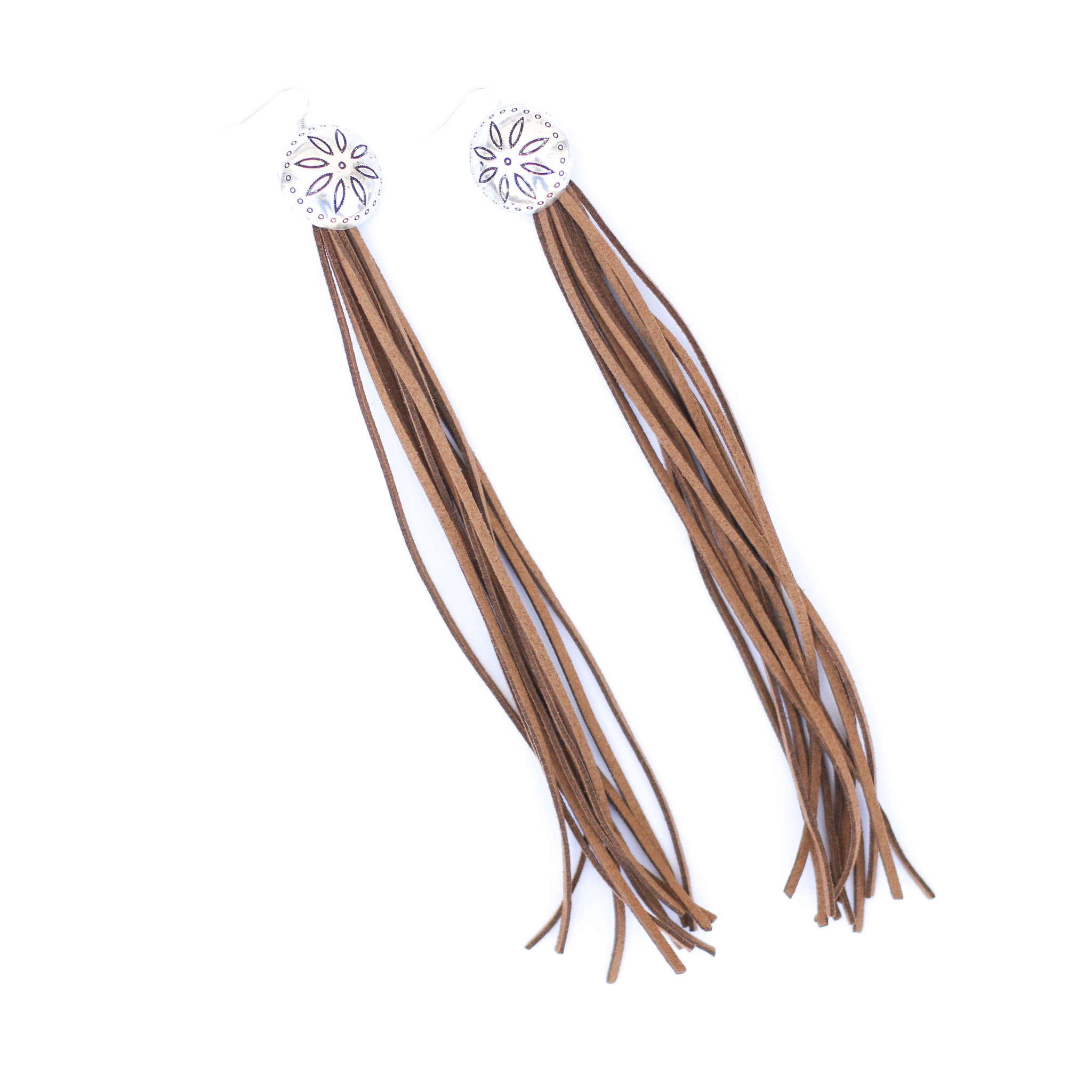 Punchy's Brown Tassel Earring with Concho