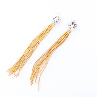 Punchy's Mustard Tassel Earring with Concho