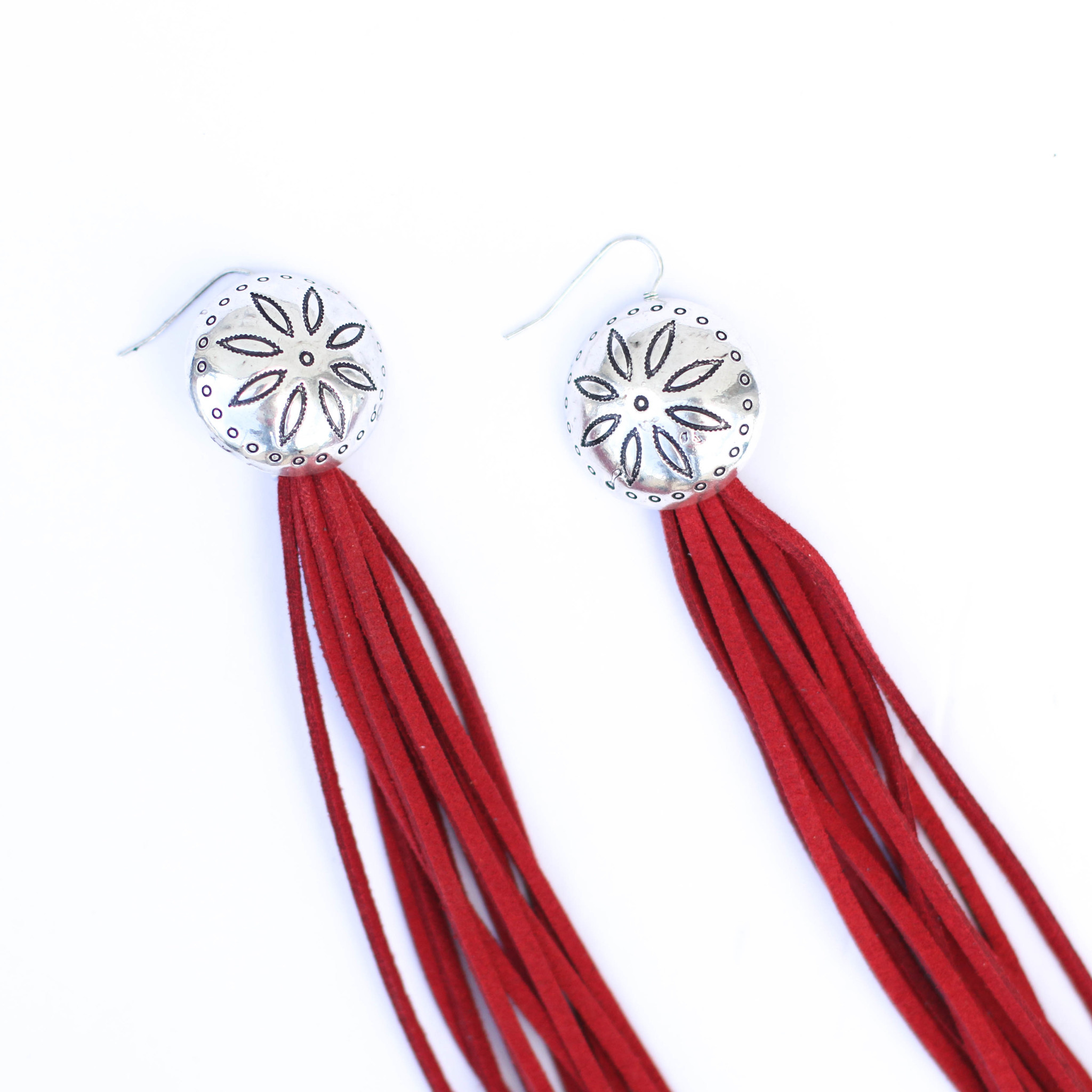 Punchy's Red Tassel Earring with Concho