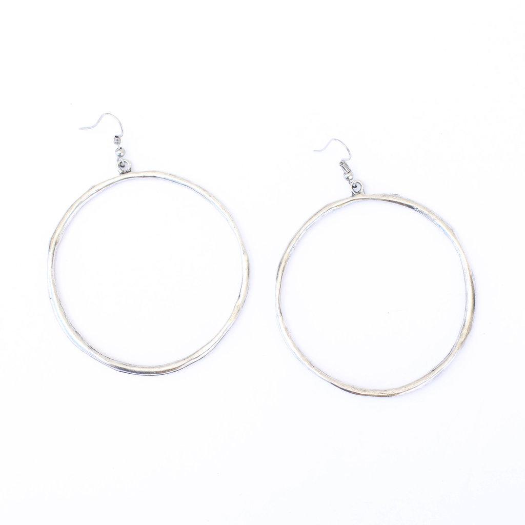 Punchy's Silver Hoop Dangle Earring