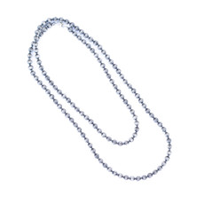 "Punchy's 66"" Silver Melon Bead Necklace"