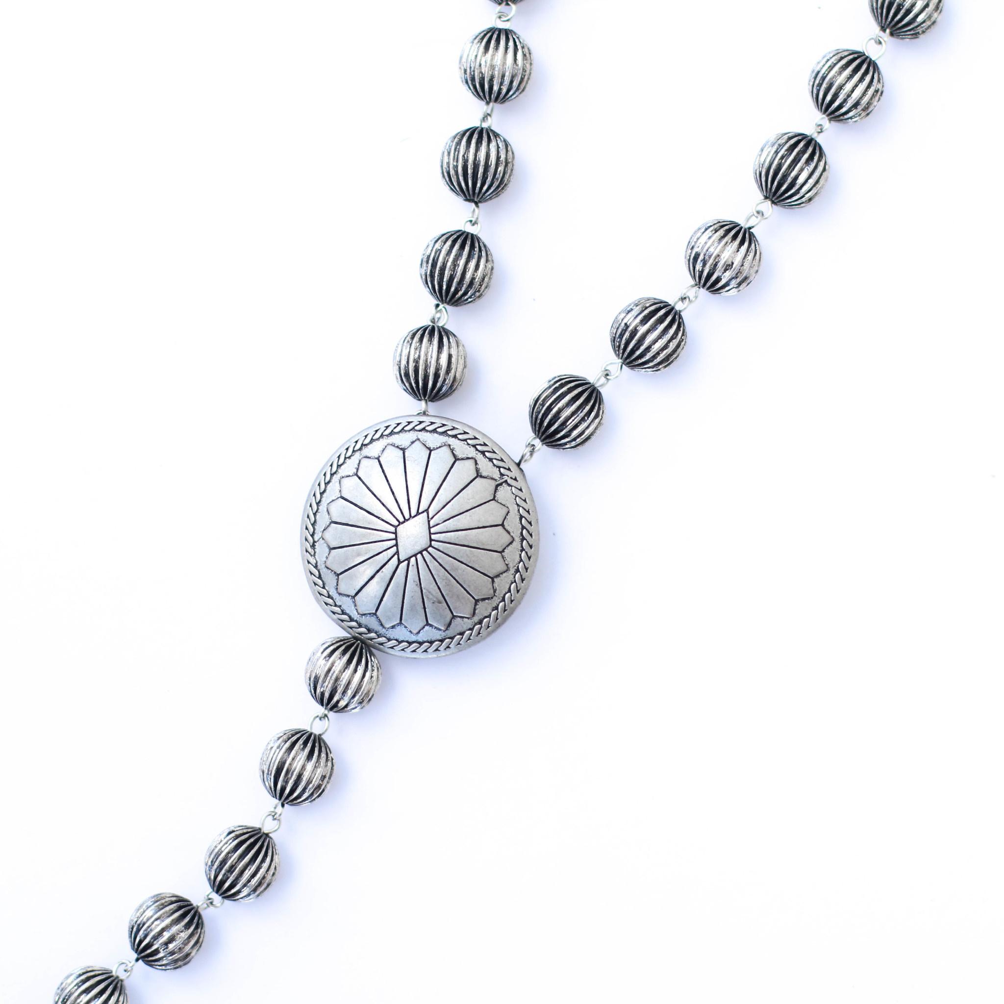 "Punchy's 30"" Silver Melon Bead Lariat Necklace Set"