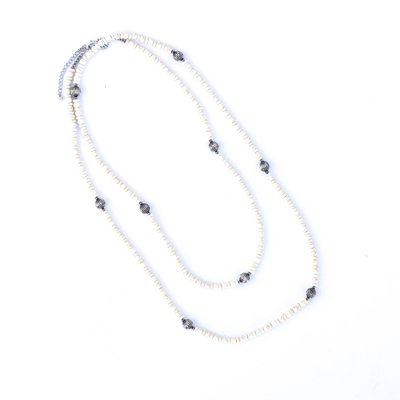 "Punchy's 66"" Ivory and Silver Melon Bead Necklace"