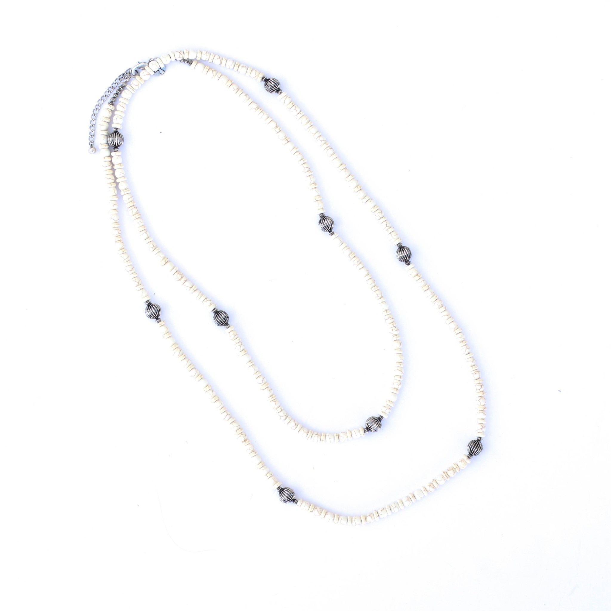 """Punchy's 66"""" Ivory and Silver Melon Bead Necklace"""