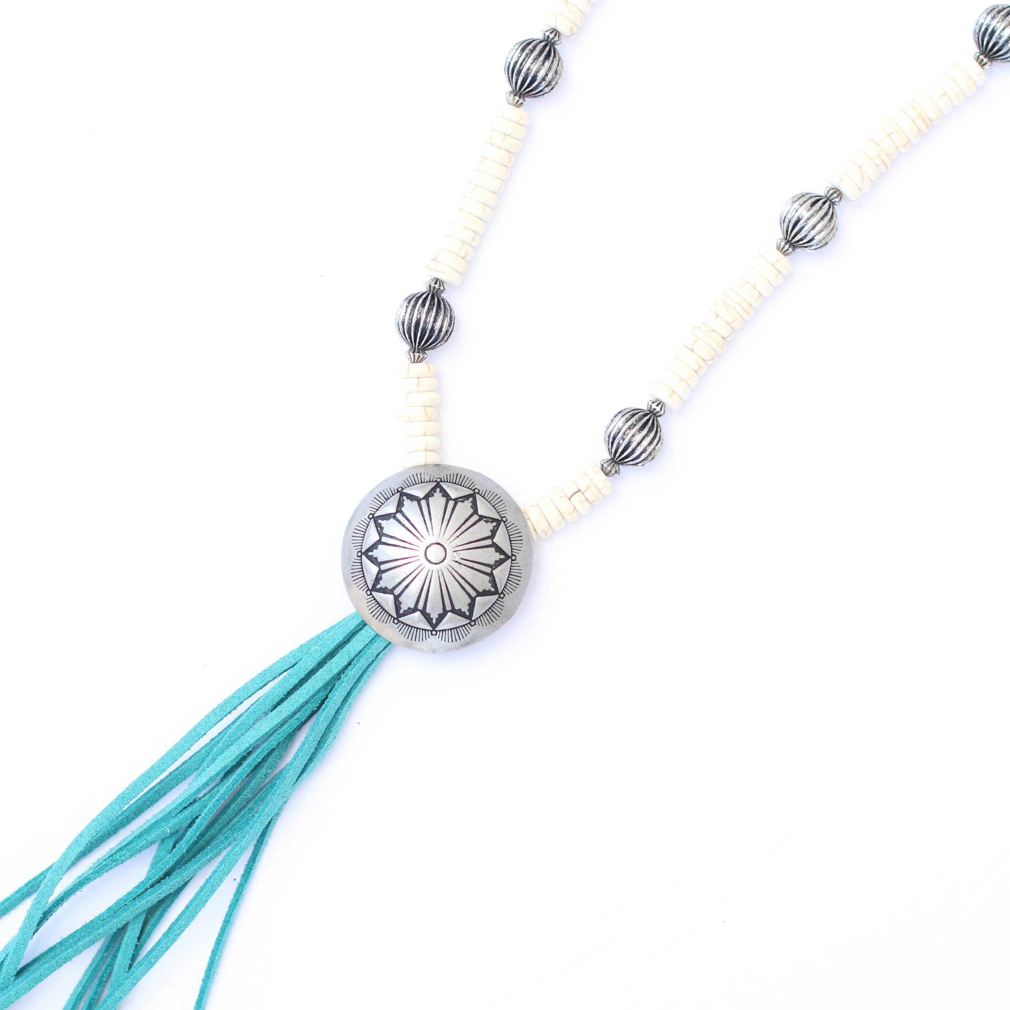 """Punchy's 36"""" Ivory Melon Beaded Necklace with Turquoise Tassel Concho"""