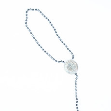 """Punchy's 30"""" Silver and Black Rondell Bead Lariat Necklace with Silver Concho"""