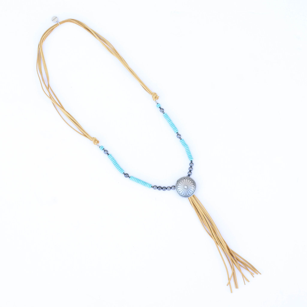 """Punchy's 30"""" Turquoise and Smoke Pearl Necklace with Mustard Tassel Concho"""