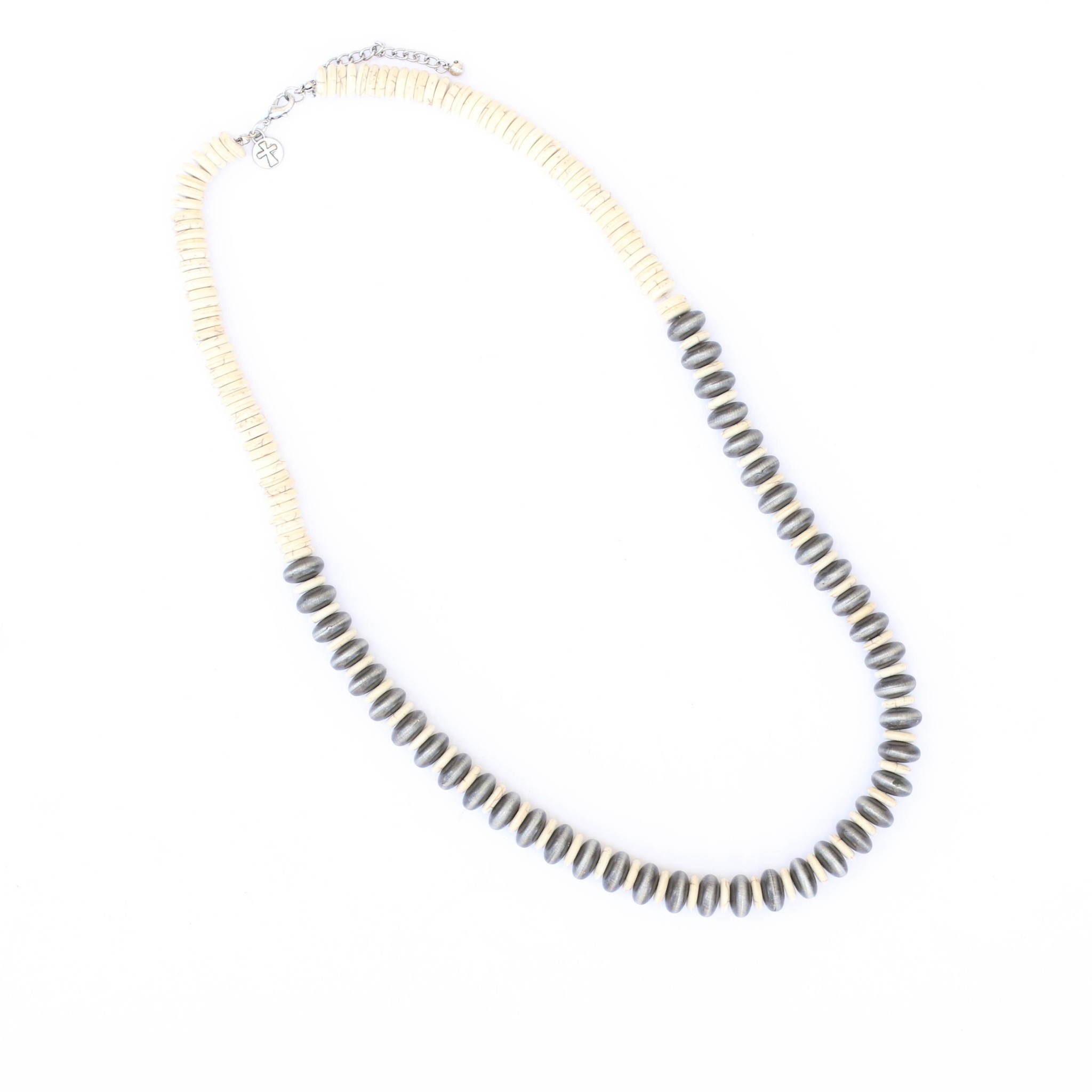 "Punchy's 30"" Smoke Pearl and Ivory Disc Beaded Necklace"
