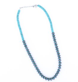 "Punchy's 30"" Smoke Pearl and Turquoise Disc Bead Necklace"