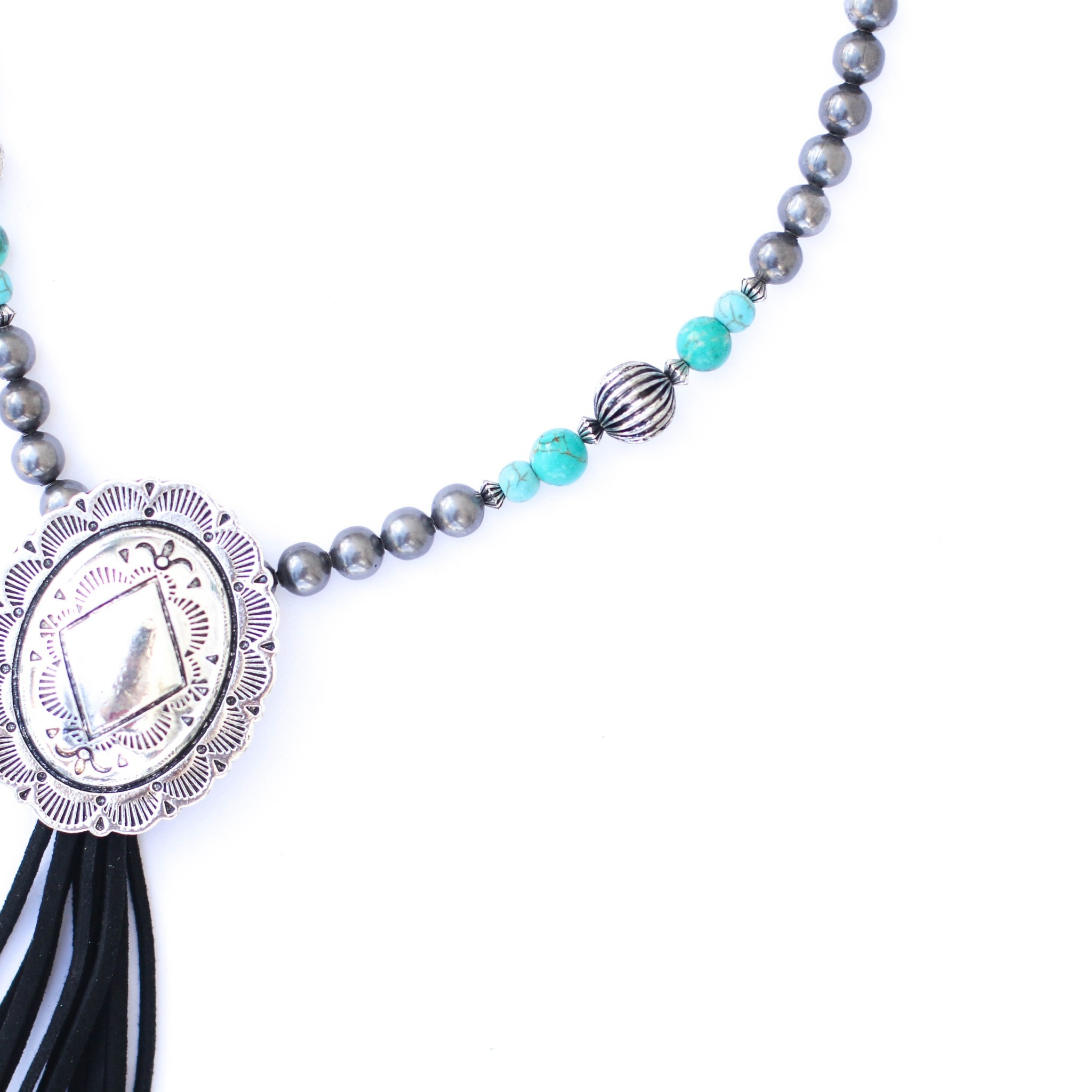 """Punchy's 36"""" Turquoise and Smoke Pearl Necklace with Black Tassel and Concho"""